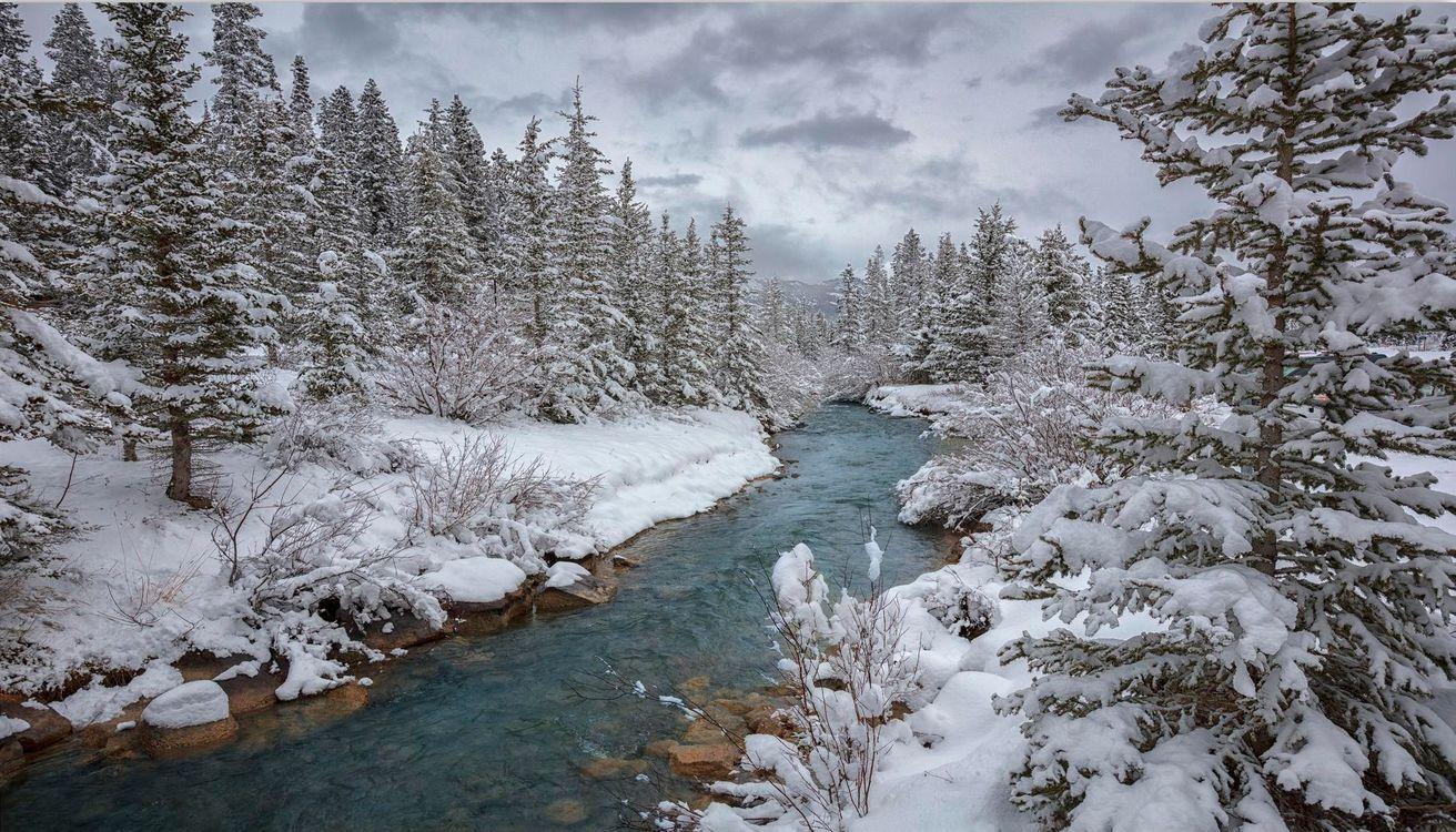Зима река картинка