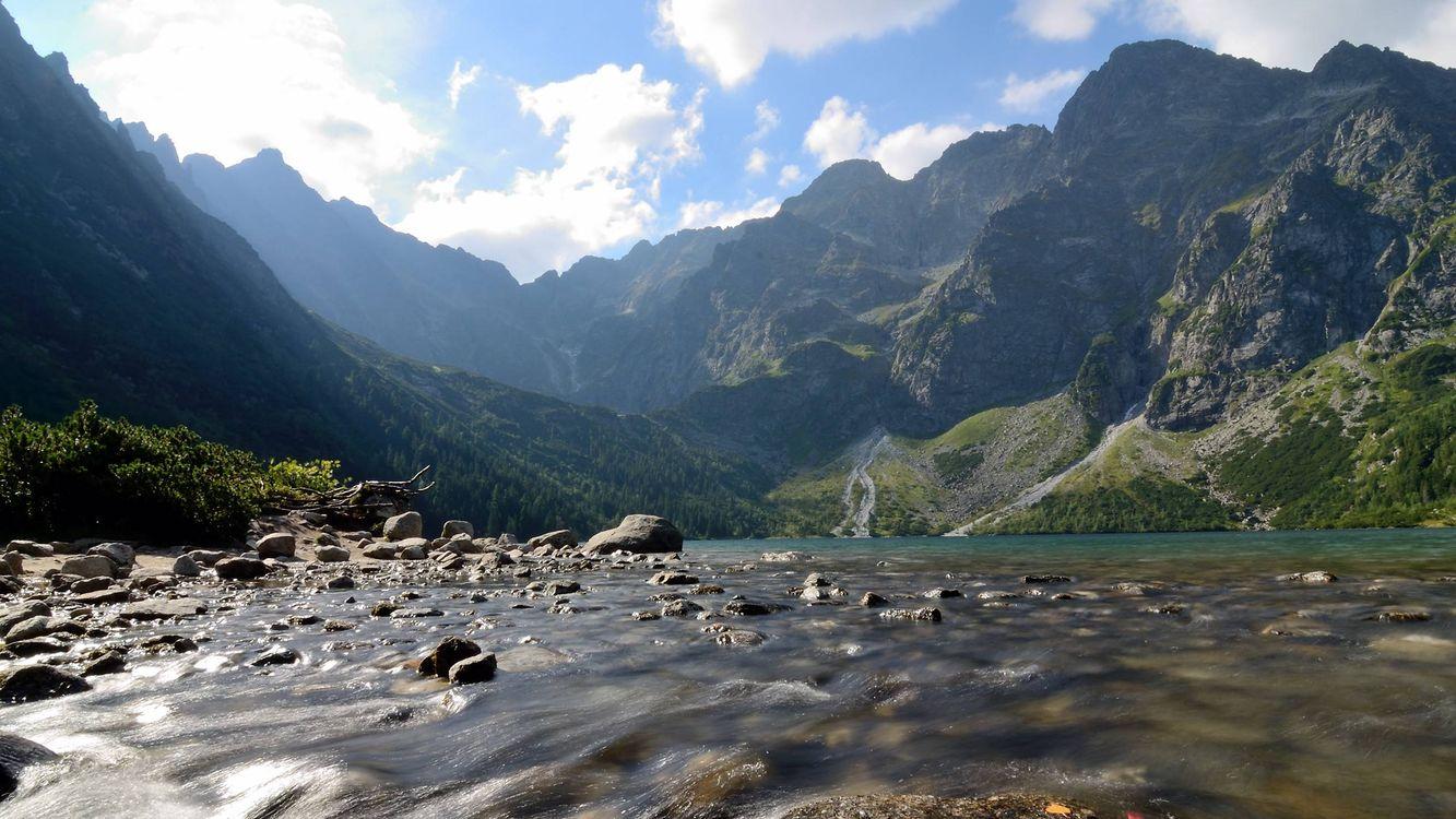 Фото бесплатно каменистая река в горах, мелководье, камни - на рабочий стол