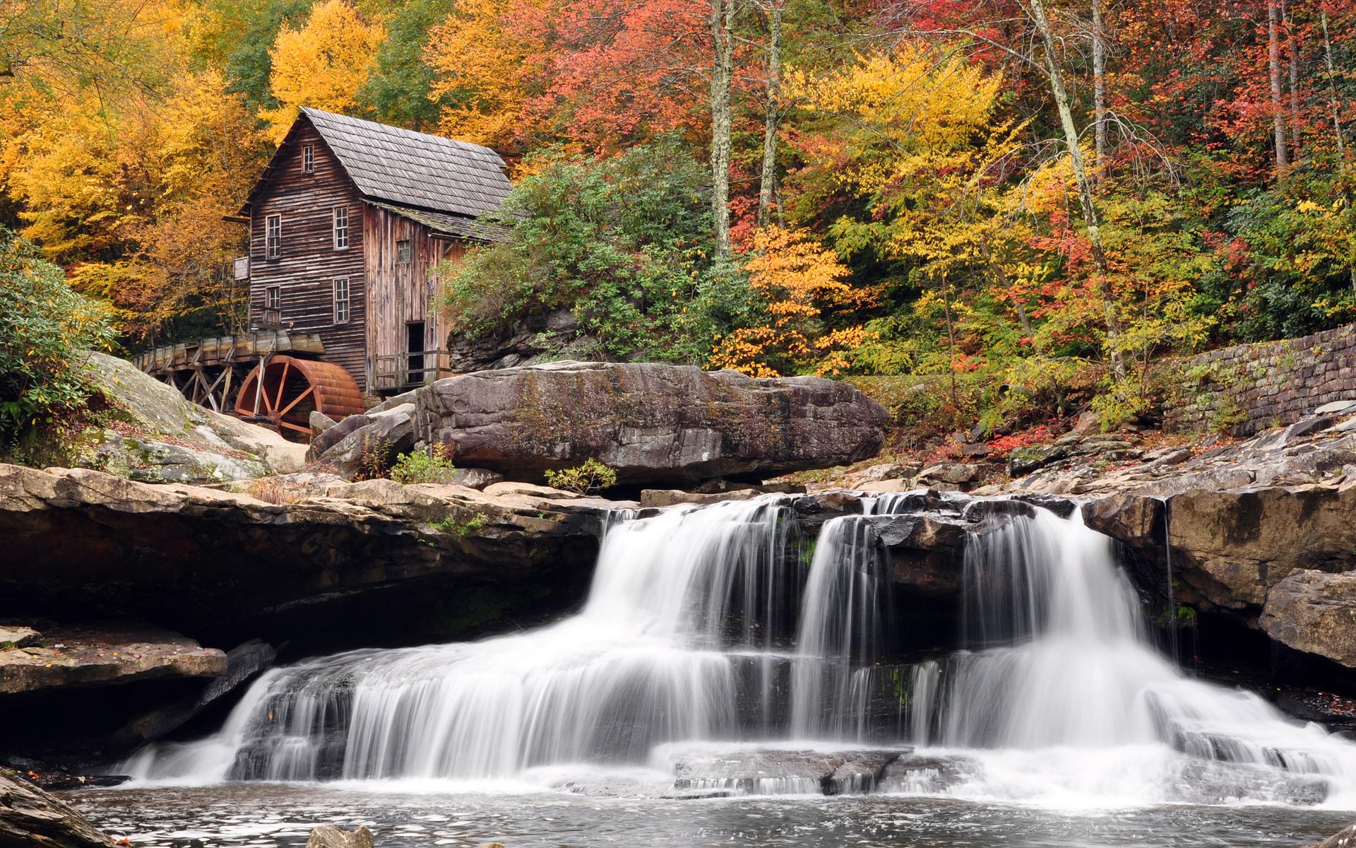 осень, деревья, водяная мельница