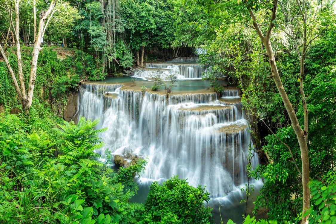 Фото бесплатно Huai Mae Kamin, Waterfall, Водопад, Канчанабури, Таиланд, пейзаж, пейзажи