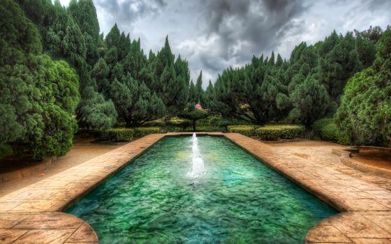 Фото бесплатно фонтан, вода, деревья