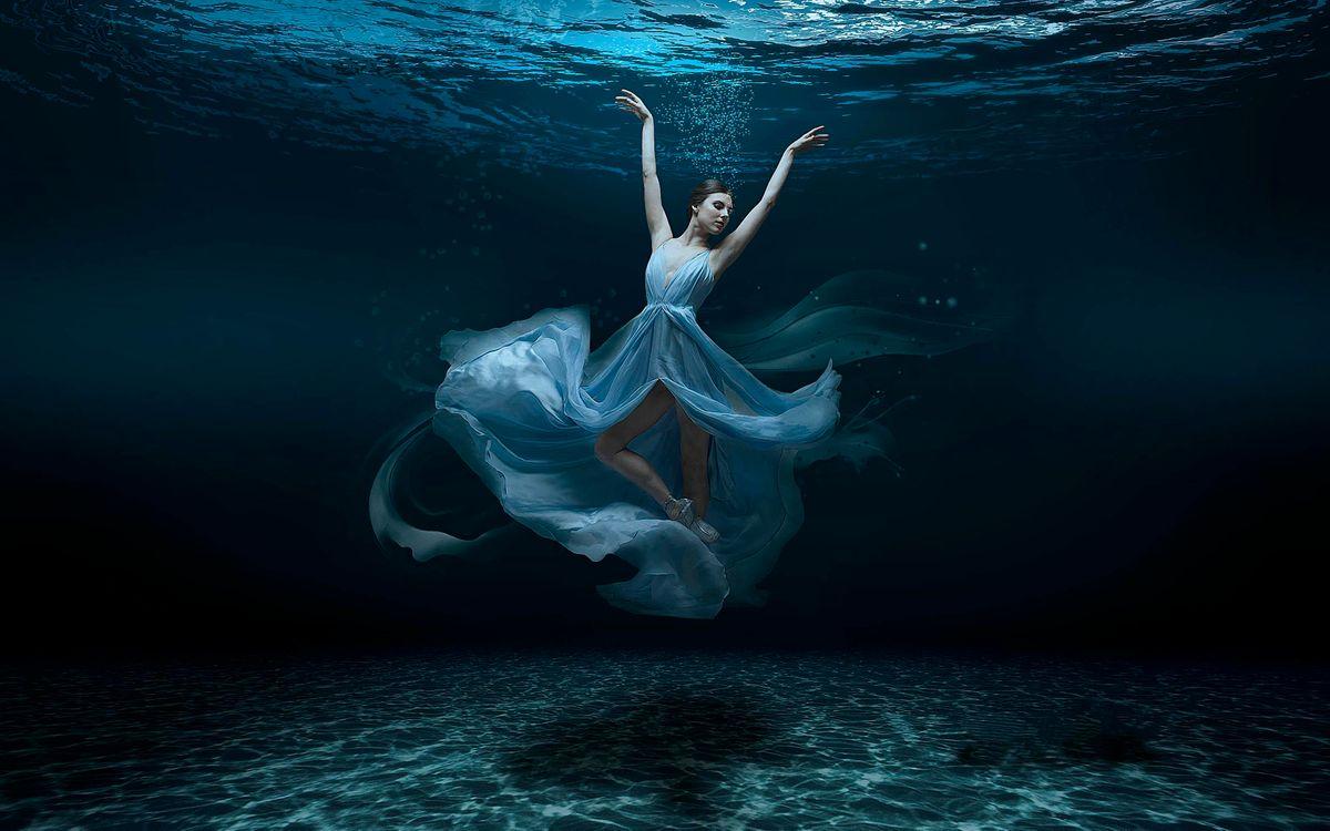 Фото бесплатно море, морское дно, девушка балерина, рендеринг