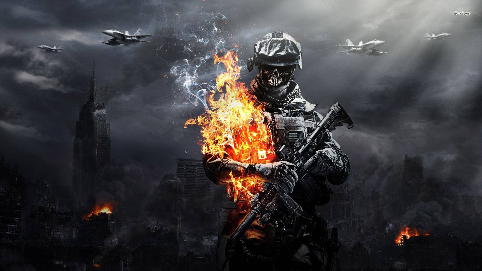 Обои warface, солдат, огонь, авиация
