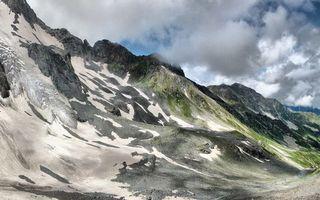 Бесплатные фото горы,скалы,вершины,снег,трава,небо,облака