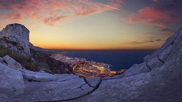 Фото бесплатно город на побережье, море, гора