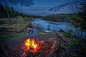 Фото бесплатно закат, река, костёр