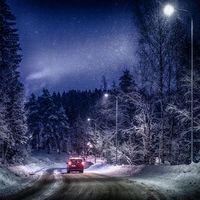 Бесплатные фото зима,снег,дорога,ночь,лес,деревья,пейзаж