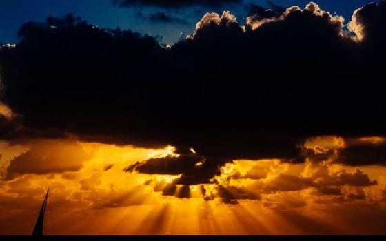 Photo free black clouds, sunset, rays
