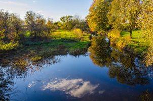 Фото бесплатно Kawkawlin River, Bay County, Michigan, осень, река, деревья, пейзаж