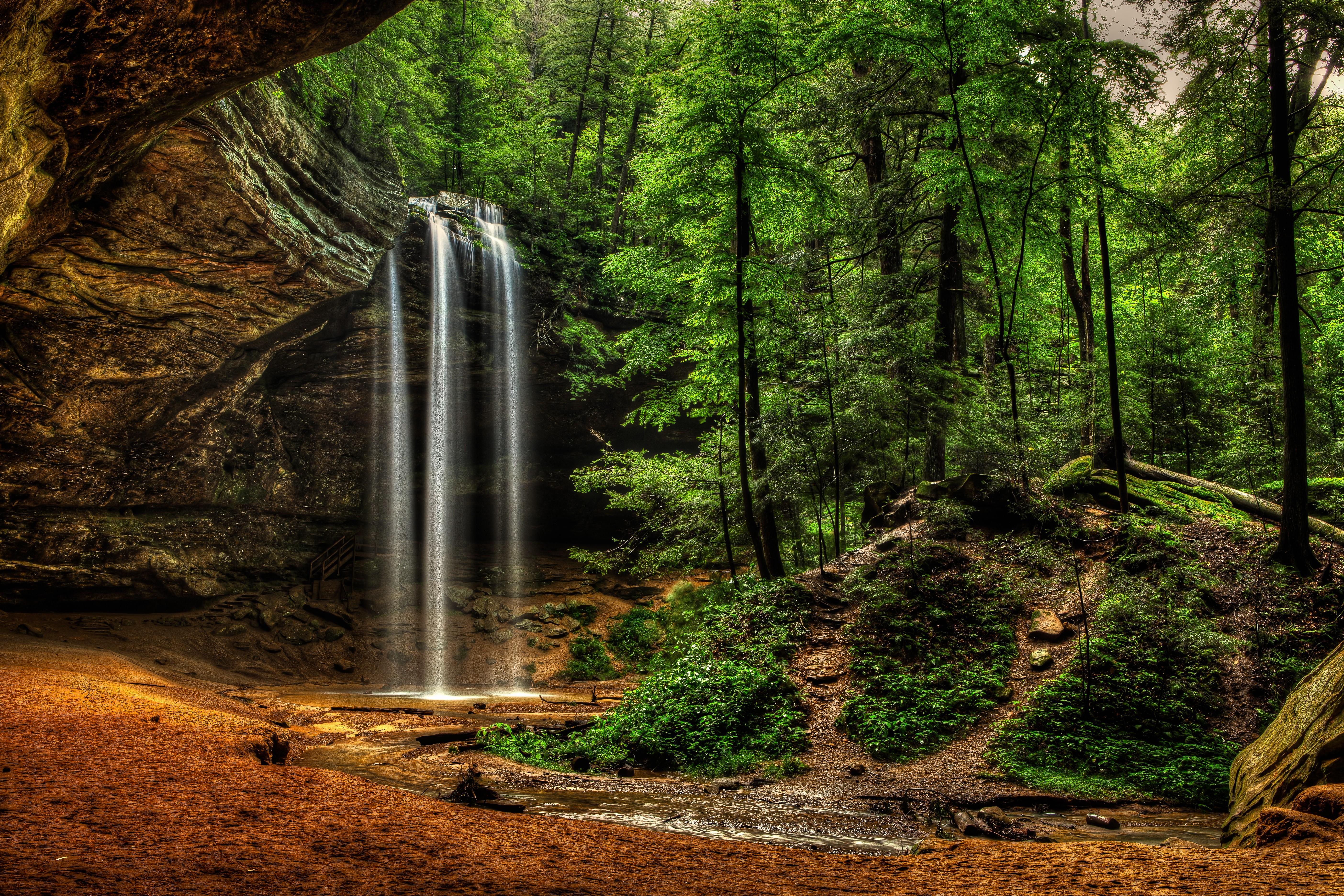 Ohio waterfalls, Hocking Hills State Park, лес