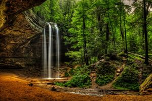 Бесплатные фото Ohio waterfalls,Hocking Hills State Park,лес,деревья,водопад,скалы,природа