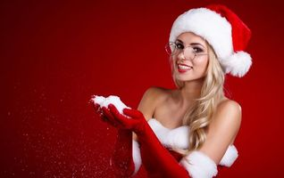 Фото бесплатно красивый макияж, снегурочка, новогодняя девушка
