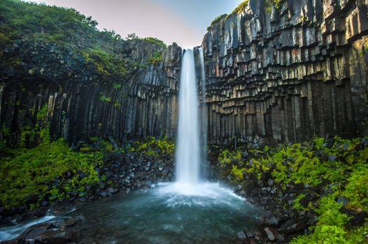 Фото бесплатно красивый водопад, скала, река