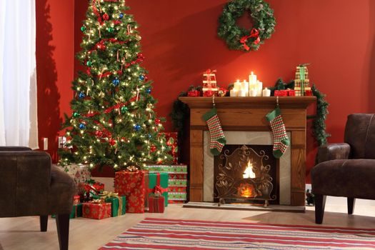 Photo free New Year tree in the interior, interior, fireplace