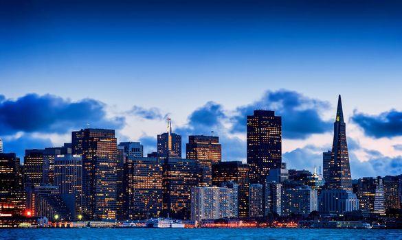 Фото бесплатно ночной Сан-Франциско, небоскребы, порт