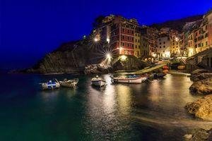 Фото бесплатно Риомаджоре, Италия, ночь