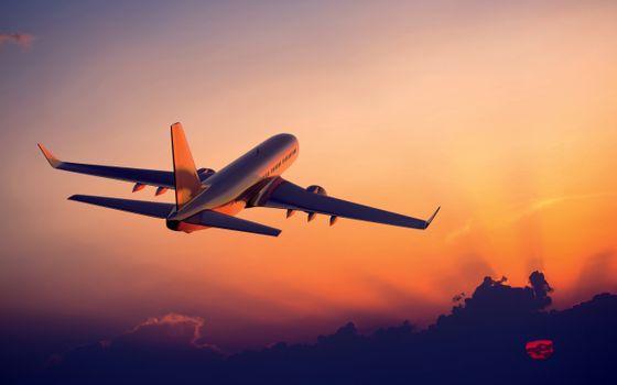 Фото бесплатно пассажирский боинг, взлет