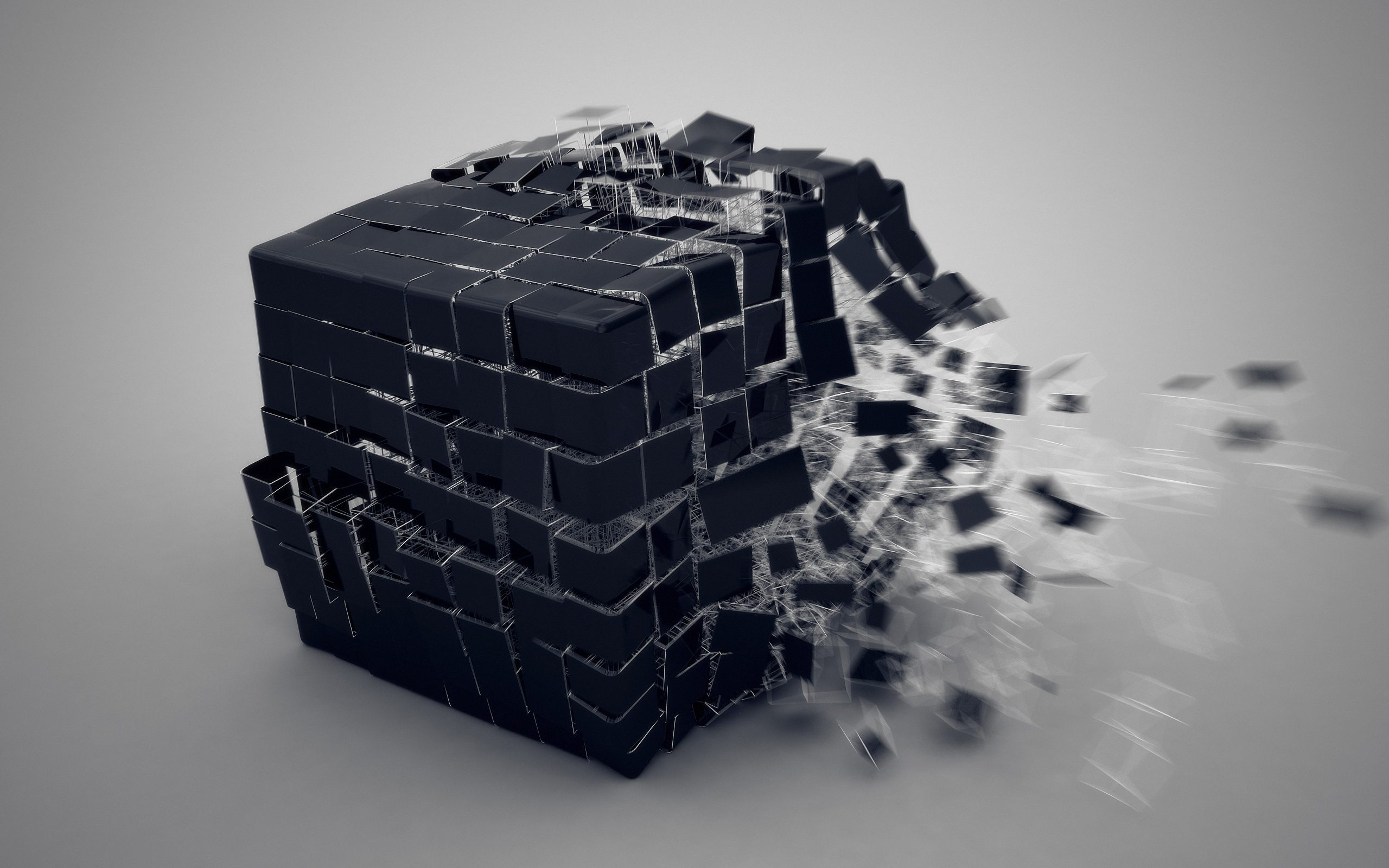 Обои Расщепление куба, раскол, чёрный куб