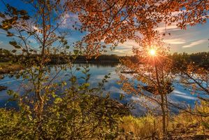 Фото бесплатно закат, осень, озеро