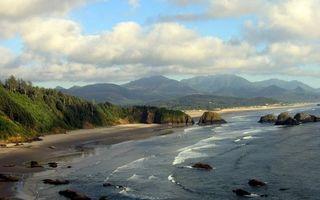 Фото бесплатно растительность, горы, волны