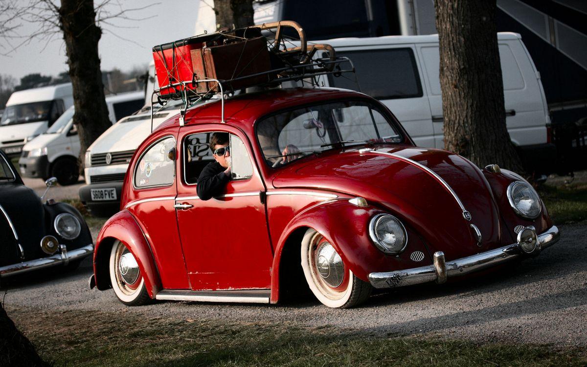 Фото бесплатно фольксваген жук, красный, водитель, посадка, пневма, багажник, автомобили, машины