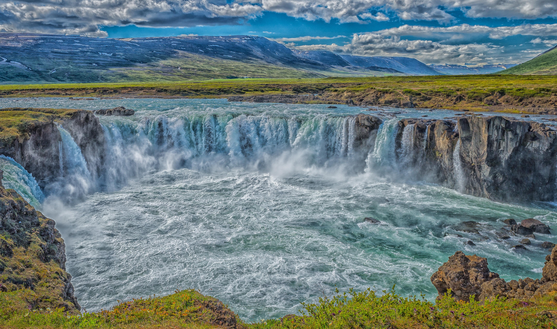 обои Godafoss, Iceland, водопад, горы картинки фото