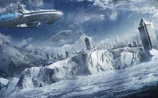 Бесплатные фото море,лед,горы,город,дома,высотки,космический корабль