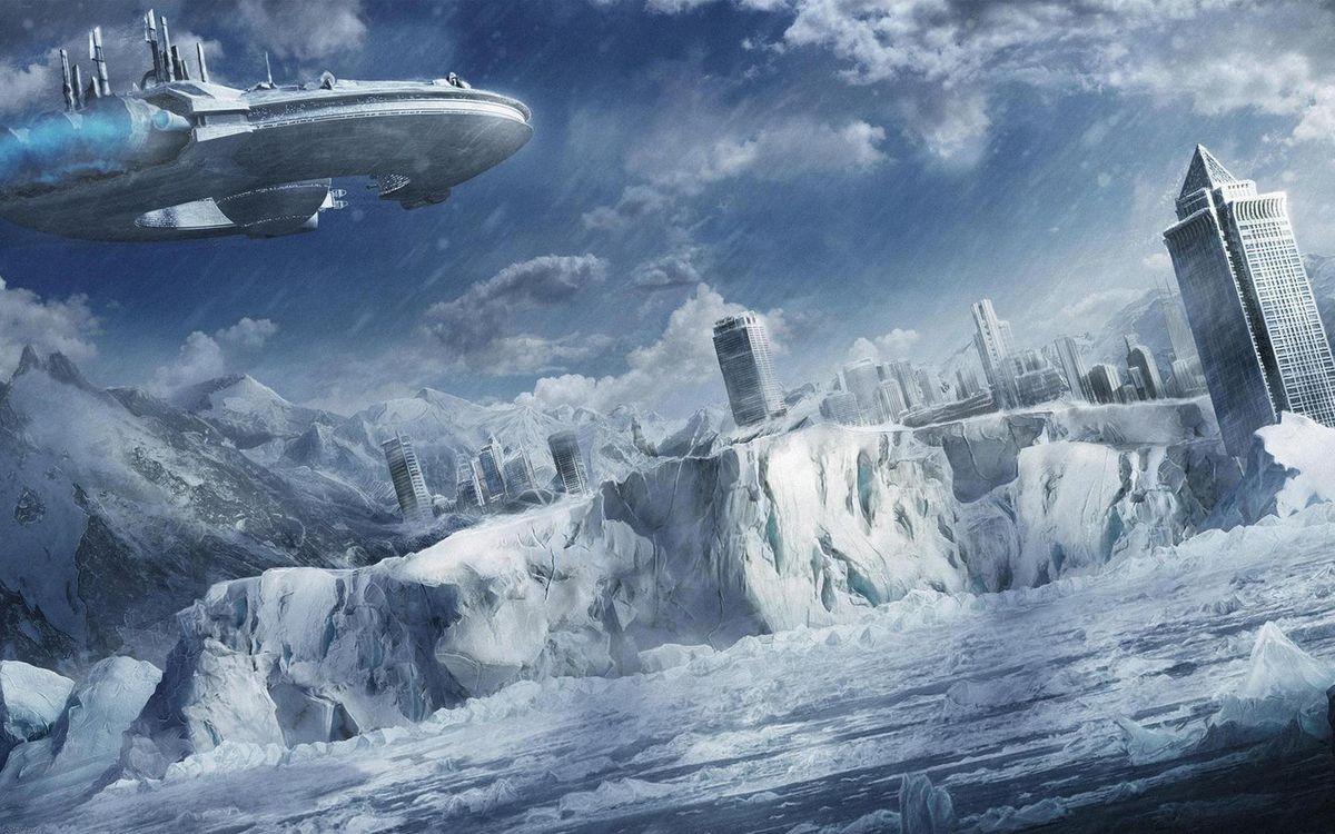 Фото бесплатно море, лед, горы, город, дома, высотки, космический корабль, фантастика