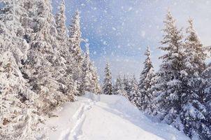 Фото бесплатно путь, сугробы, горы