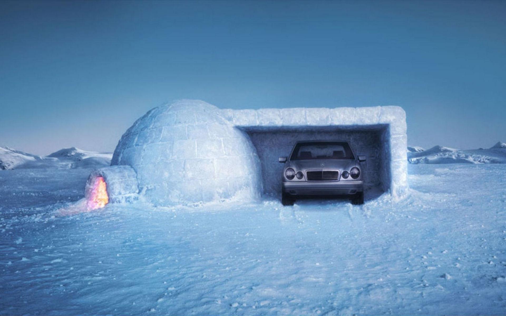 Обои жилище эскимосов, иглу, свет, гараж