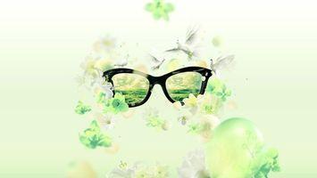 Бесплатные фото очки,отражение,цветы,листья,птицы,полет