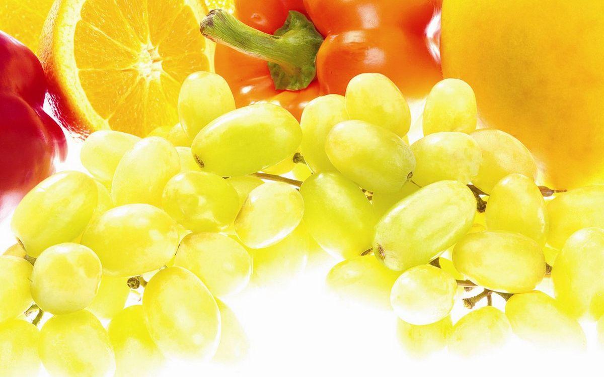 Фото бесплатно виноград, гроздь, ягода, апельсин, перец, манго, еда