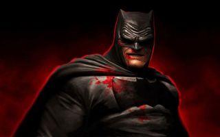 Бесплатные фото бэтмен,гримаса,костюм,кровь,знак,фон черно-красный