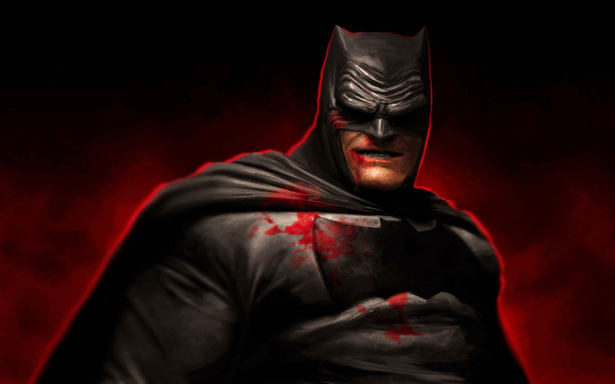 Фото бесплатно бэтмен, гримаса, костюм, кровь, знак, фон черно-красный, мультфильмы