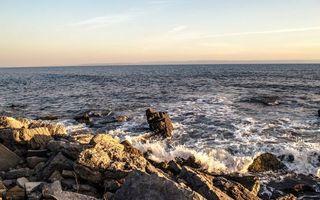 Бесплатные фото камни,скалы,море,волны,горизонт,небо