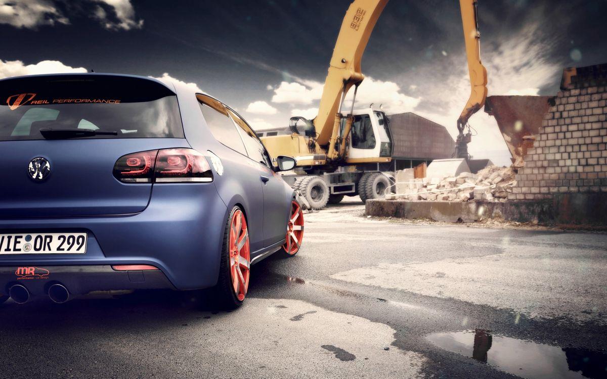 Фото бесплатно Volkswagen Golf, стройка, машины