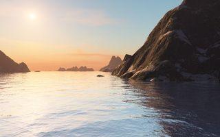 Бесплатные фото море,гладь,горы,небо,облака,солнце