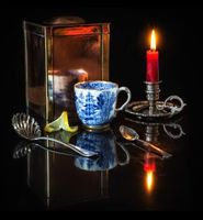 Бесплатные фото Пламя,Свеча,Подсвечник,ложка,лимон,кружка,Чашка чая