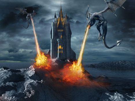 Фото бесплатно замок, драконы, пламя