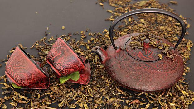 Photo free kettle, saucers, juice