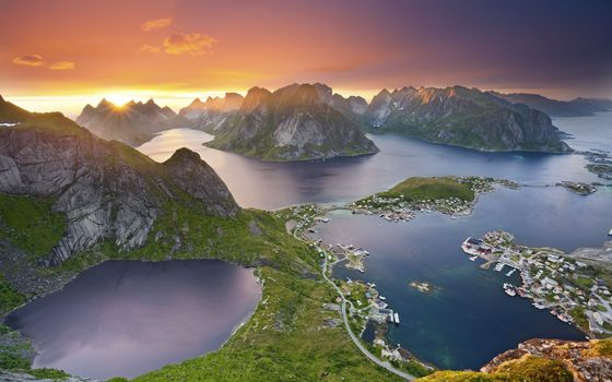 Заставки озера в горах, закат