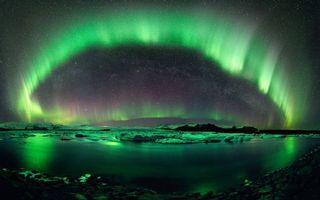 Фото бесплатно северное сияние, небо, река