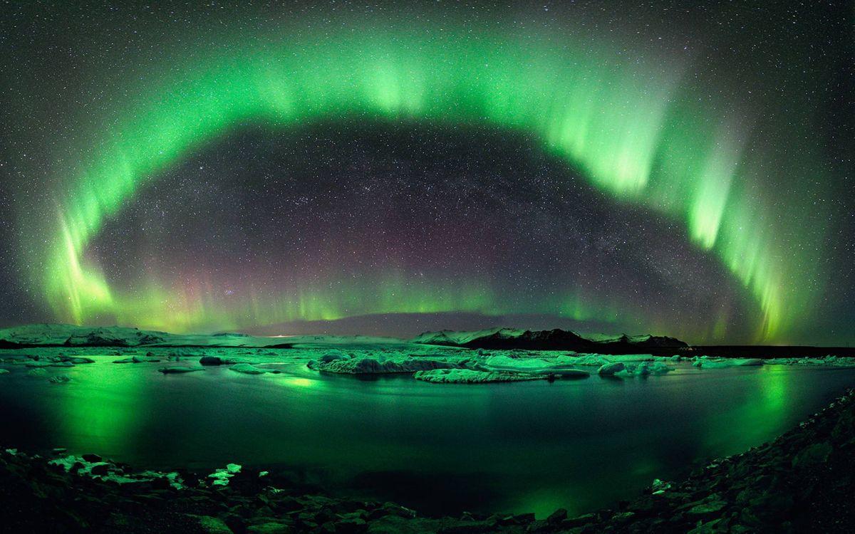 Фото бесплатно северное сияние, небо, река - на рабочий стол