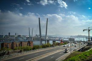Бесплатные фото Владивосток,Россия,мост,дорога,город,машины,небо