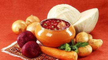 Фото бесплатно чугунок, борщ, овощи