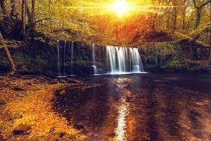 Бесплатные фото осень, водопад, скалы, лес, деревья, пейзаж, природа