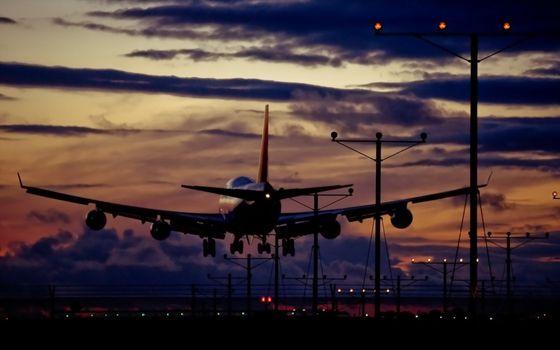 Фото бесплатно вечер, самолет, посадка