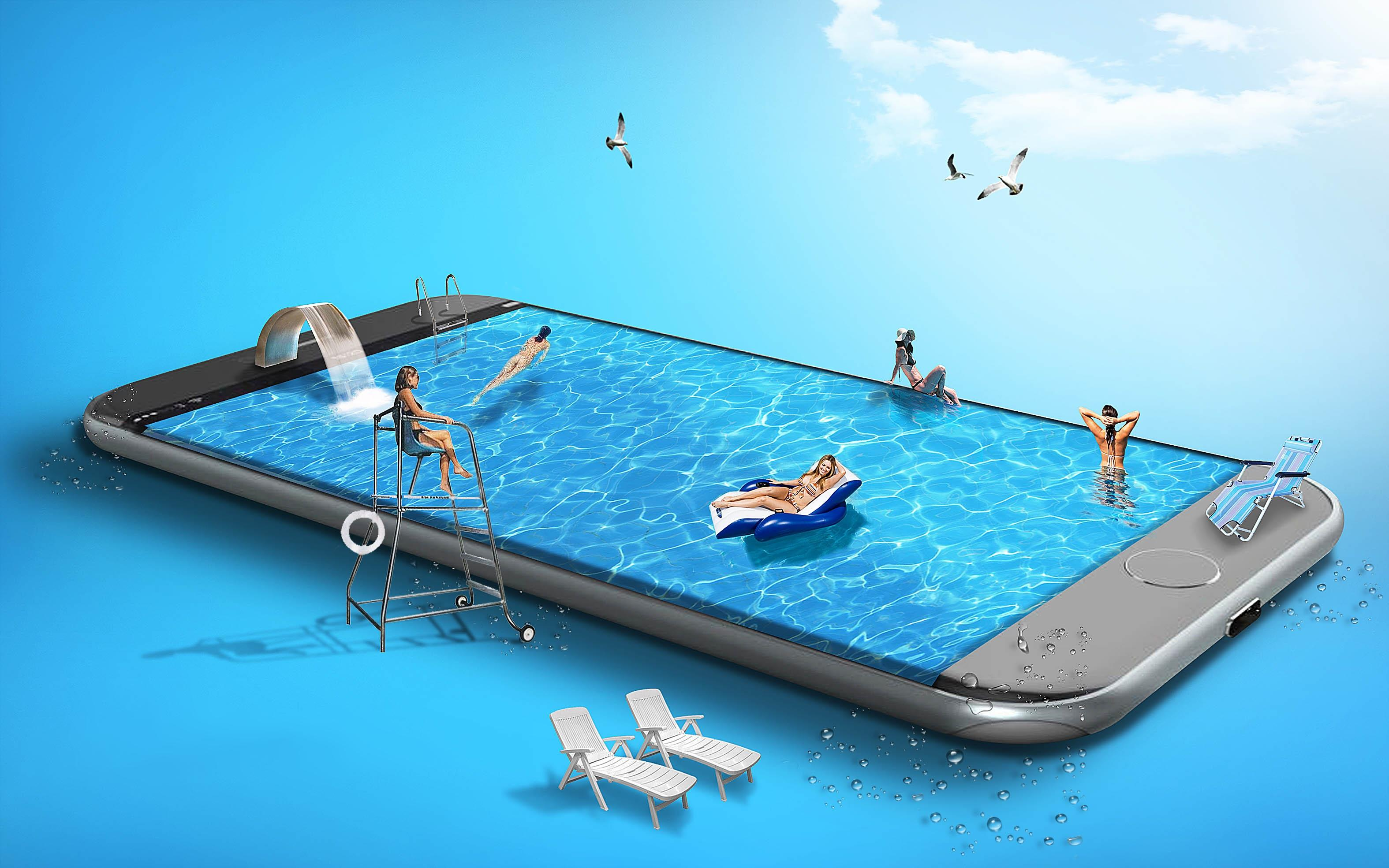 Обои фантасмагория, смартфон, девушки, бассейн