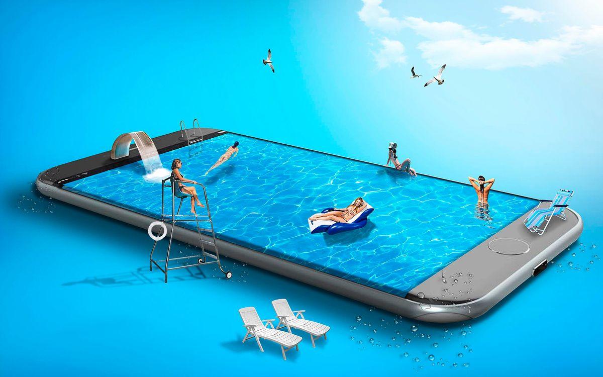 Фото бесплатно фантасмагория, смартфон, девушки, бассейн, фантазия, 3d графика