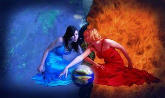 Заставки девушки, огонь, вода